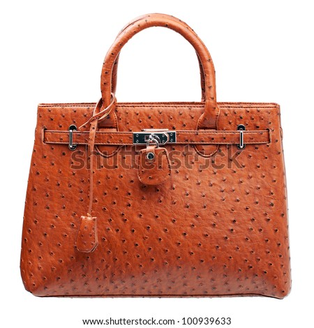Terracotta women handbag isolated over white