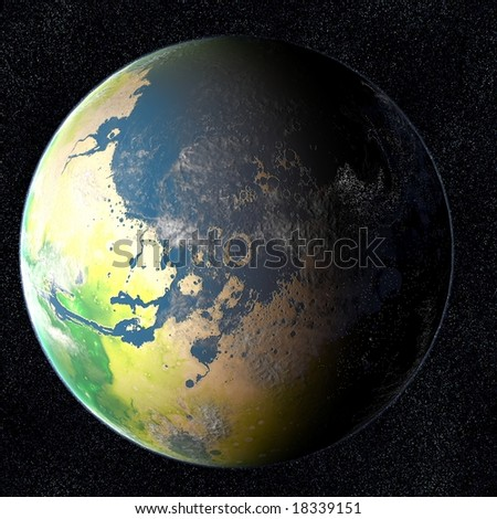 Terraformed Mars  This is what mars may look like if it was terraformed and colonized sometime in the future. You can see the city lights from the inhabitants on the dark side of the planet.