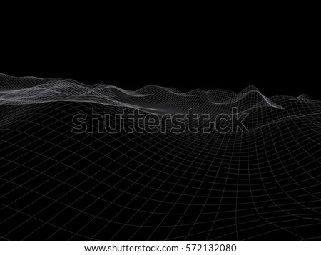 Terrain mesh. Wire render. Abstract background. 3d #572132080