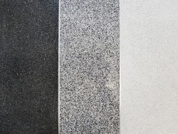 Terrazzo marble tile texture background, Small stones black, gray and white grains smooth and shiny surface. Three styles in row.
