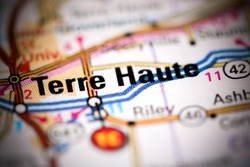 Terre Haute. Indiana. USA on a geography map