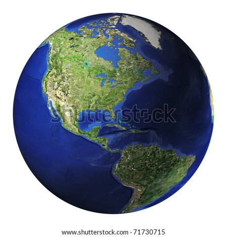 Terrestrial globe. America side. Clipping path included.