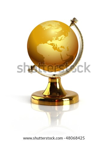 Terrestrial globe isolated on a white background.