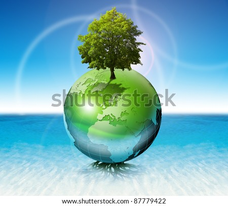 Terrestrial globe on the water with roots and tree, the concept of ecology and purity