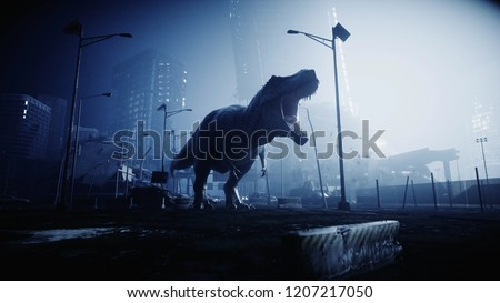 terrible dinosaur trex in the night destroyed city. Apocalypse concept. 3d rendering.