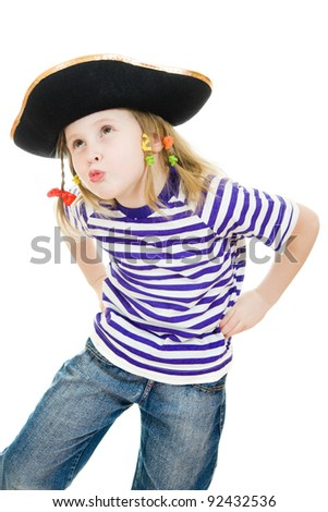 Terrible pirate girl in shirt and hat on a white background.