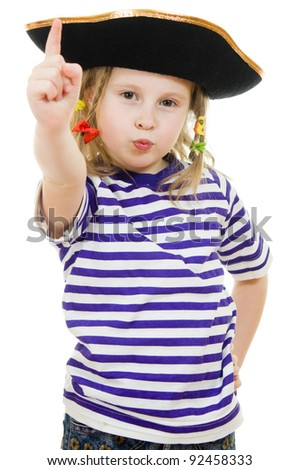 Terrible pirate girl in shirt and hat on a white background. - stock photo