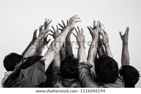 terrible zombie hands, dirty hands of the mummy, zombie theme, halloween theme, white background, isolated, black hand of death with black fingernails, monstrous art