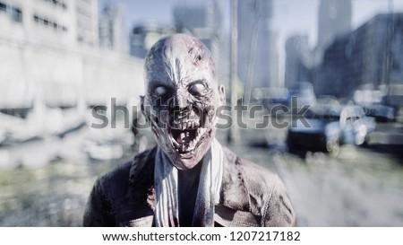 Terrible zombie in destroyed city. Zombie apocalypse concept. 3d rendering.