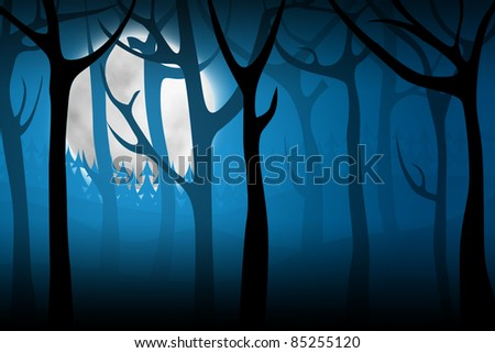 Terrify night forest with big moon on background