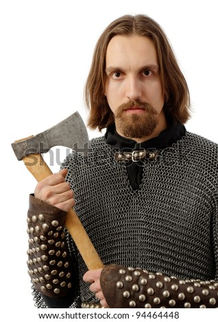 terrifying warrior in armour, holding an axe, isolated over white background