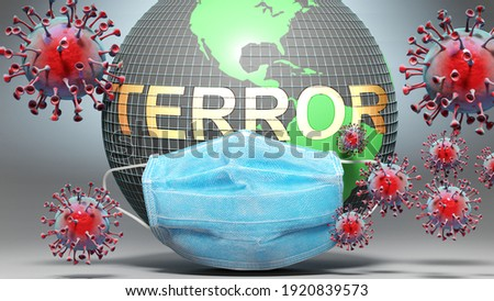 Terror and covid - Earth globe protected with a blue mask against attacking corona viruses to show the relation between Terror and current events, 3d illustration Photo stock ©