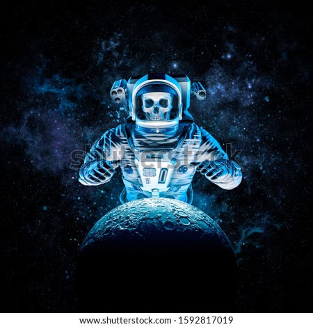 Terror beyond the stars 3D illustration of science fiction scene with ominous skeleton astronaut rising behind moon outer space amid glowing galaxies