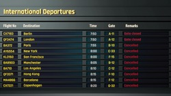 Terrorism threat at airport, all flights canceled on departure board, accident
