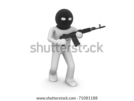 Terrorist. Character with automatic rifle. One of a 1000+ 3d characters series.