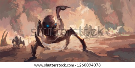 Terrorist scenes of alien invasion of the earth, digital painting.