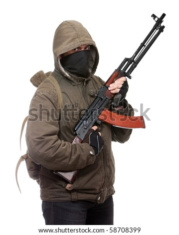 Terrorist with weapon on a white background