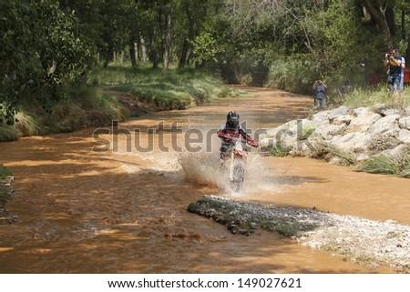 TERUEL, SPAIN - JULY 20 : Spanish motorcycle rider  Joan Barreda in a Honda CRF 450 , race in Baja Spain, on Jul 20, 2013 in Teruel, Spain.