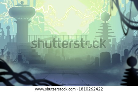 Tesla laboratory lightning and discharges electricity illustration art background place for text copy space.