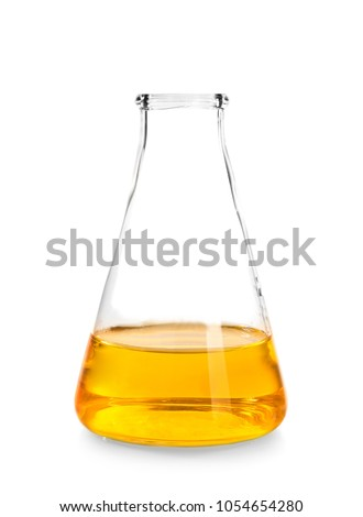 Test flask with yellow liquid on white background