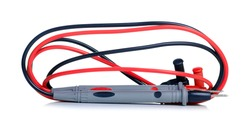 test leads for multimeter on white background isolation