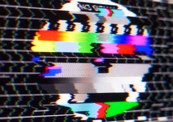 Test pattern on the glitch screen. No signal. Pal test card. Digital errors. Digital artifacts. Pixel noise.