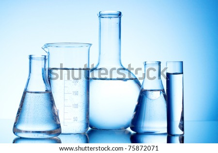 Test-tubes blue colors. Laboratory glassware