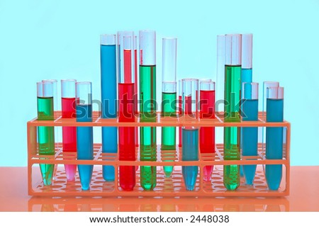 test tubes close up, under colorful light