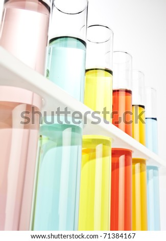 Test tubes filled with colored fluid