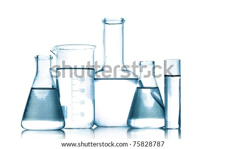 Test-tubes in gray colors isolated on white. Laboratory glassware