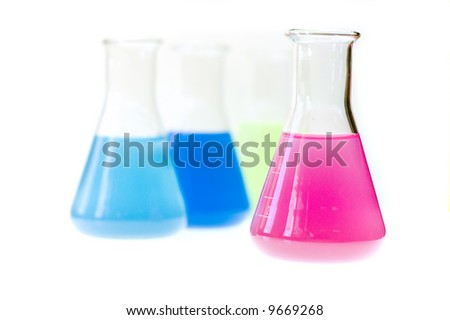 Test tubes isolated fulled with different color chemicals