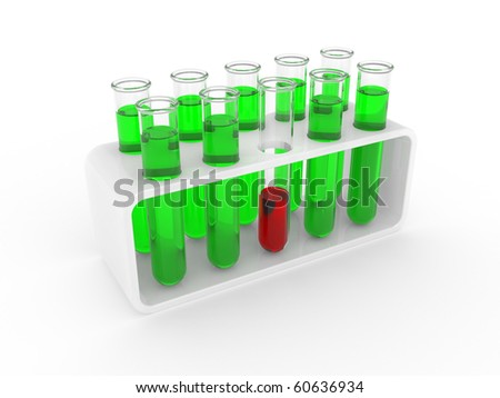 Test tubes on a support isolated on a white background