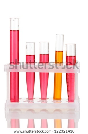 Test-tubes with a colorful solution isolated on white