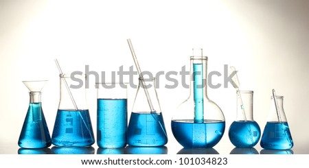 Test-tubes with blue liquid