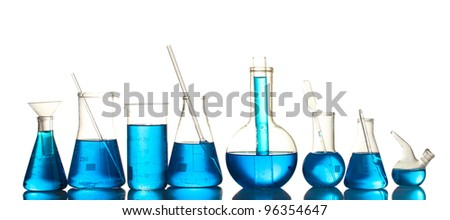 Test-tubes with blue liquid isolated on white - stock photo