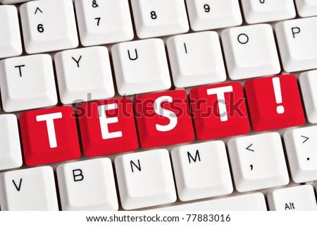 Test word on white keyboard