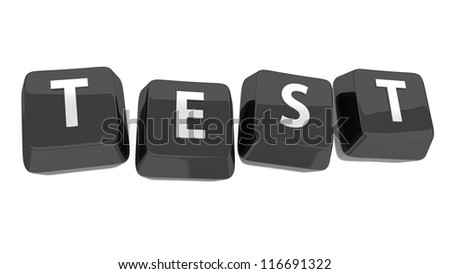 TEST written in white on black computer keys. 3d illustration. Isolated background.