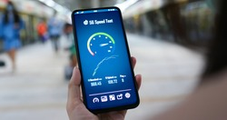 Testing the speed of 5G in the mrt station
