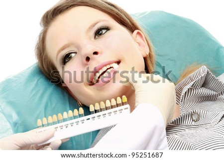 Testing whiteness of teeth of a patient