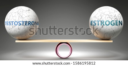 Testosterone and estrogen in balance - pictured as balanced balls on scale that symbolize harmony and equity between Testosterone and estrogen that is good and beneficial., 3d illustration Foto d'archivio ©