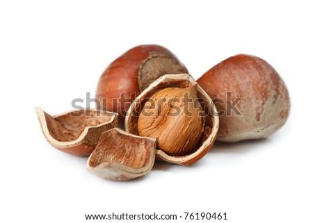 Testy hazelnuts on a white background. - stock photo