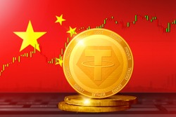 Tether China; Tether USDT cryptocurrency golden coin on the background of the flag of China