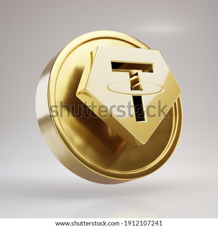 Tether cryptocurrency coin. Gold 3d rendered coin with Tether symbol isolated on white background.