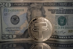 Tether USDT cryptocurrency physical coin placed next to twenty dollars bill on the reflective surface