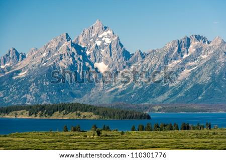 Teton range and Jackson Lake panoramic at Grand Teton National Park near Jackson, Wyoming