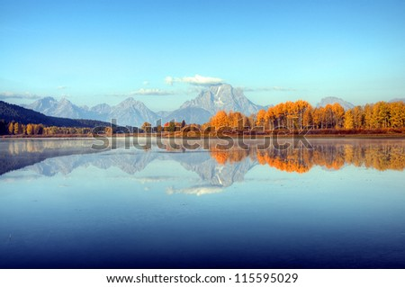 Teton Range Reflection on Oxbow Bend, Wyoming, America - stock photo