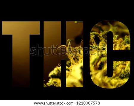 Tetra hydro cannabinol logo on black background, Thc logo, marijuana logo, cannabis logo  #1210007578