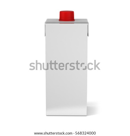 Tetra Pack With Lid White Realistic Rendering. 3D Illustration