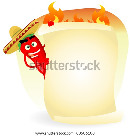 Tex Mex restaurant Banner/ Illustration of a cartoon red hot chili pepper holding mexican food menu