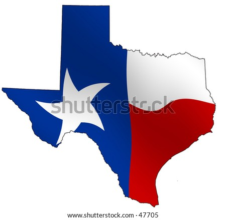 Texan map filled with waving texan flag
